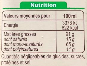 Etiquette alimentaire listant les lipides